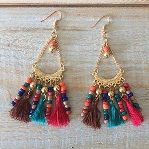 New Boho Beaded Tassel Earrings